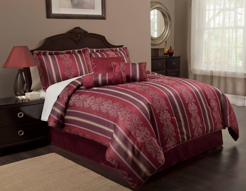 Black and gold queen comforter set - Burgundy Colored Bedding 7 Pc Burgundy And Gold Comforter Set