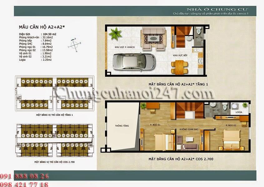mặt bằng căn hộ a2+a2* chung cư thanh hà cienco 5 hà đông