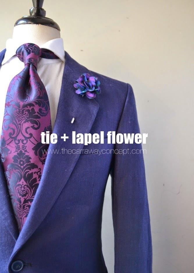 Plum Paisley Tie & Lapel Flower