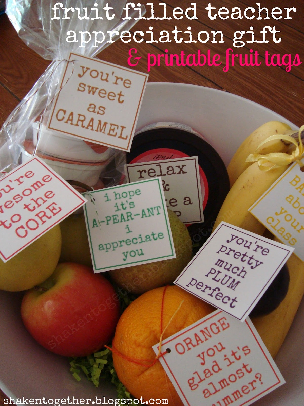 Fruit filled teacher appreciation gifts printable tags i found two big white fruit bowls on clearance at our local grocery store but you could also pile your fruit in a vintage fruit crate wooden box basket negle Image collections