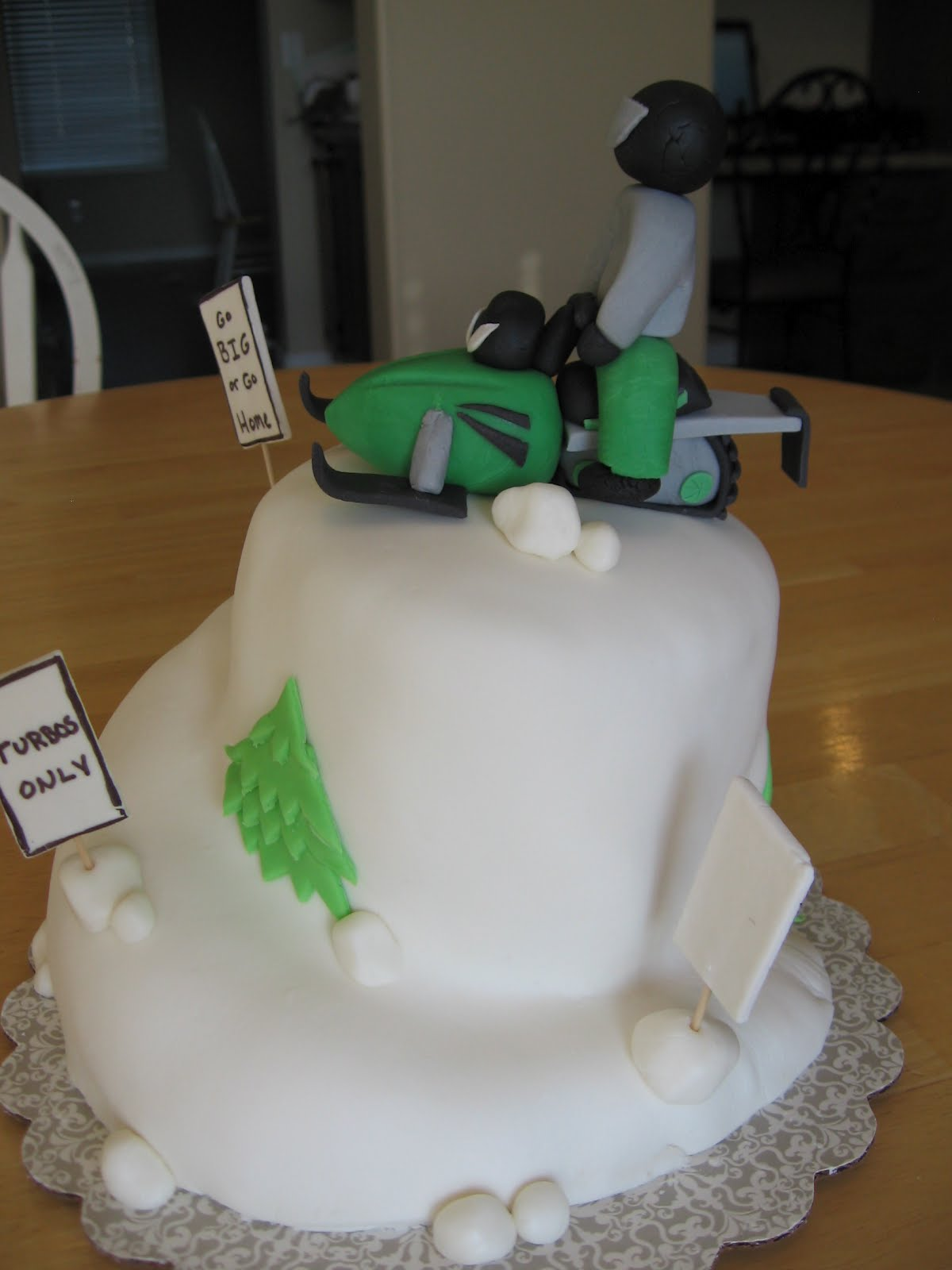 Sweets To The Sweet Snowmobile Cake