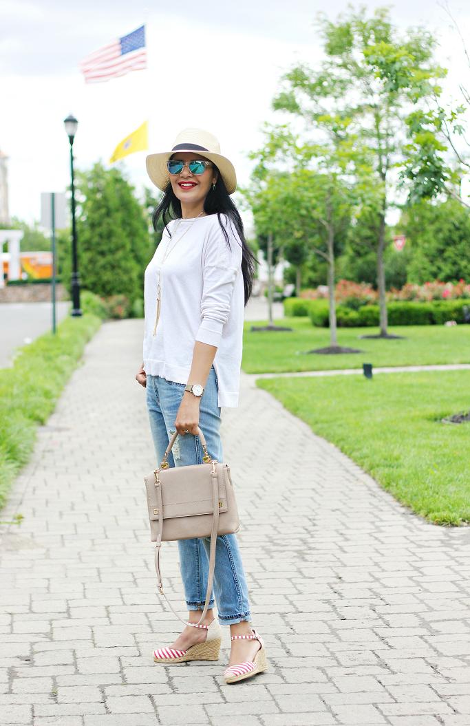 July 4th Outfit Idea, JCrew Broken-in Boyfriend Jeans, Striped Espadrilles, Blue lucite sunglasses