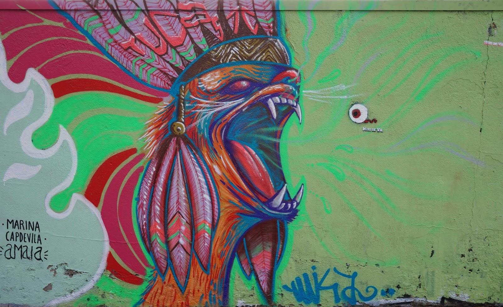 Barcelona Street Art - Feathered Lizard