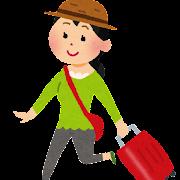 トランクを持って旅行をしている女性のイラスト