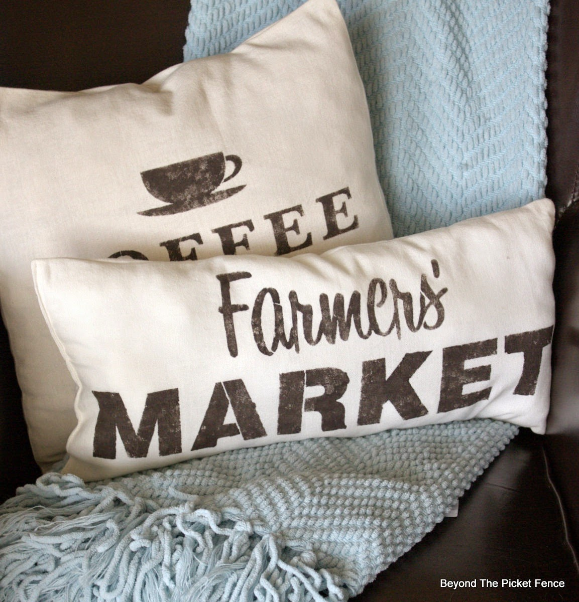 sewing, pillows, stencils, vintage, sign, coffee sign, beyond the picket fence, http://bec4-beyondthepicketfence.blogspot.com/2015/03/project-challenge-linenleather-fabric.html
