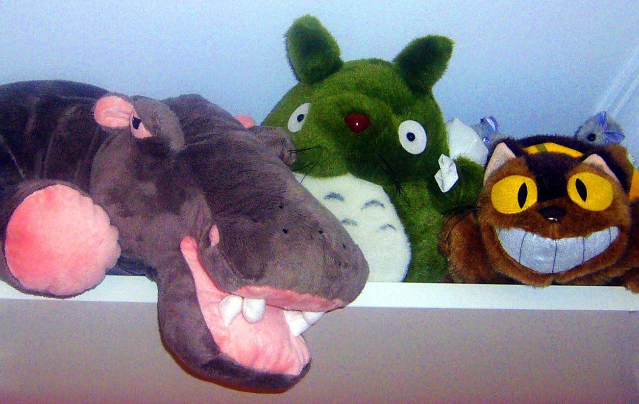 hipopótamo, Totoro y Gatobús
