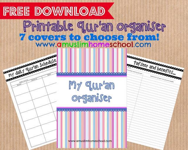Printable Quran organiser free