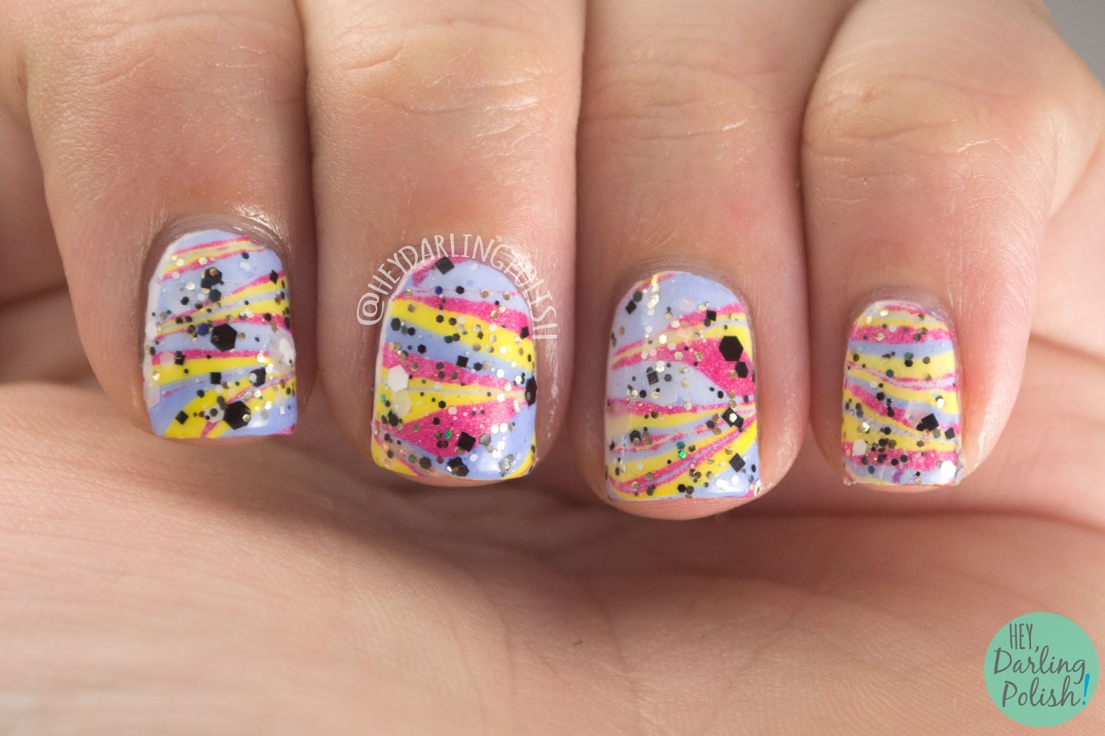 nails, nail art, nail polish, watermarble, primary colors, red, blue, yellow, glitter, hey darling polish, tri polish challenge, indie polish