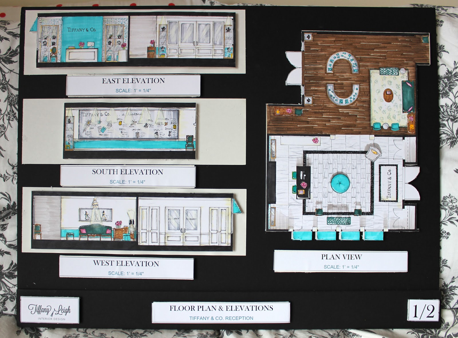 Floor Plan Elevation Perspective : Tiffany co reception completed project house