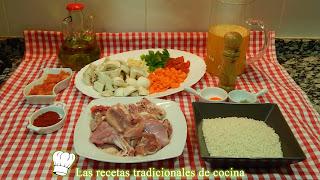 Arroz con pollo, conejo y verduras