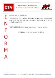 C.T.A. INFORMA CRÉDITO HORARIO MANUEL FERNANDEZ, OCTUBRE 2020
