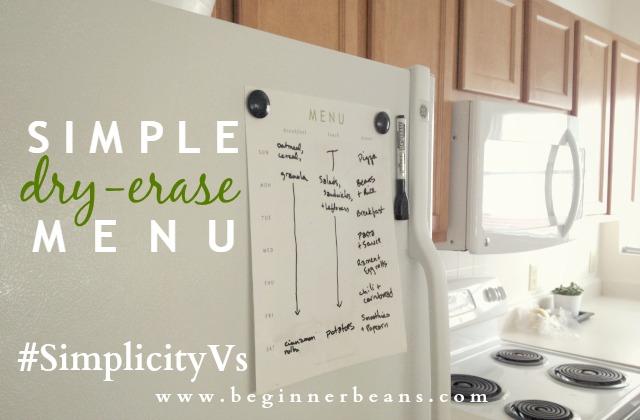 Printable Dry-Erase Menu #simplicityvs