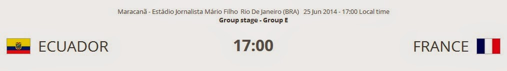 Ecuador vs. France live 2014 FIFA WORLD CUP on 25 Jun 2014