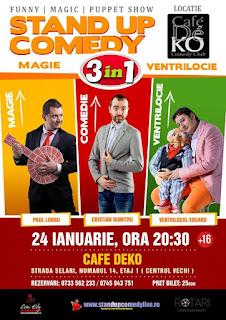 Stand-Up Comedy, Magie si Ventrilocie Duminica 24 Ianuarie Bucuresti