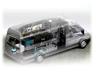 A minivan equipped for surveillance work.