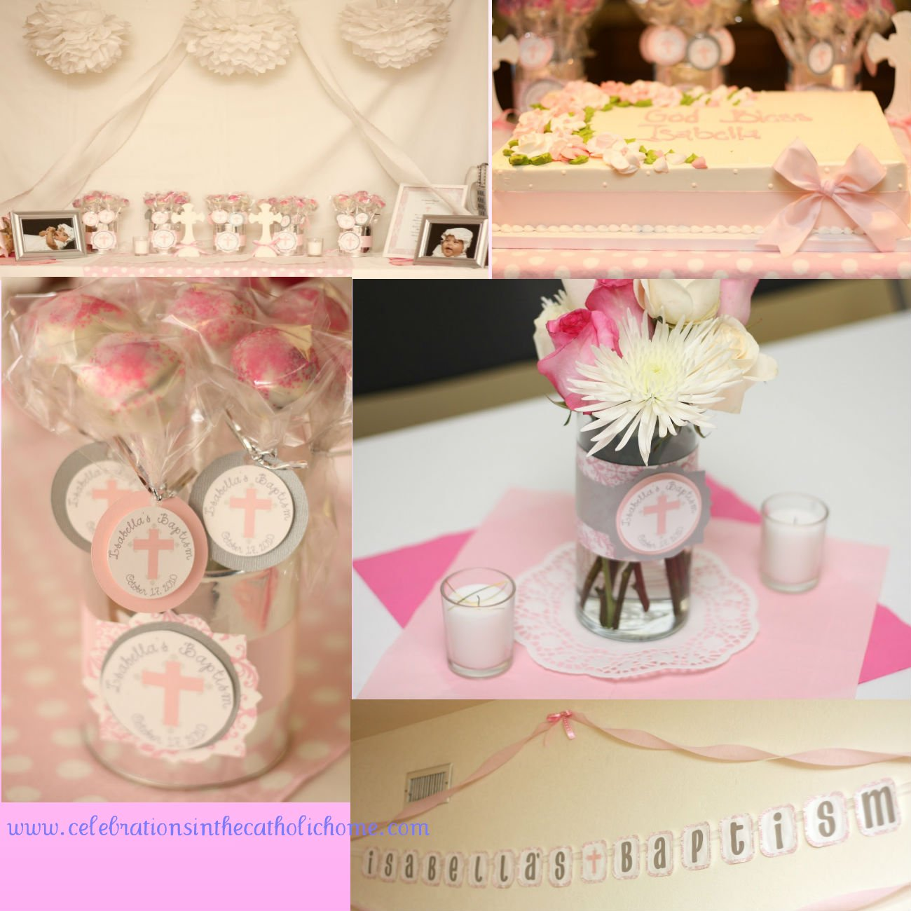 Diy baptism centerpiece party invitations ideas for Baby baptism decoration ideas