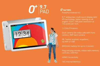 android tablet, o+ 9.7 white, o+
