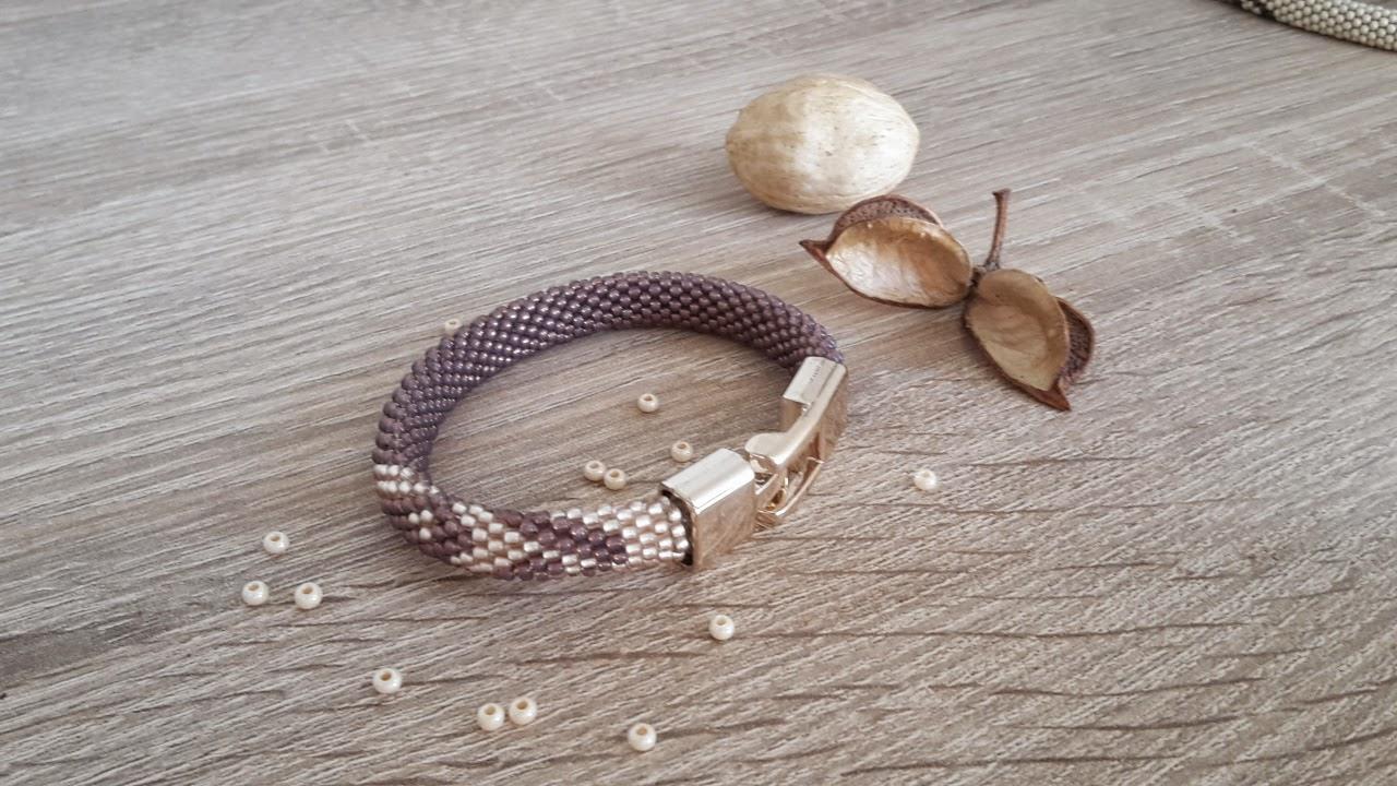 String bracelet bead crochet-violet-pink