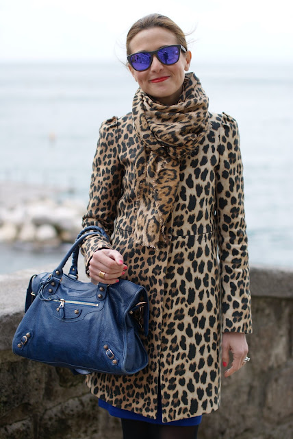 leopard print coat, Balenciaga cobalt blue city bag, Oakley mirrored sunglasses, Fashion and Cookies