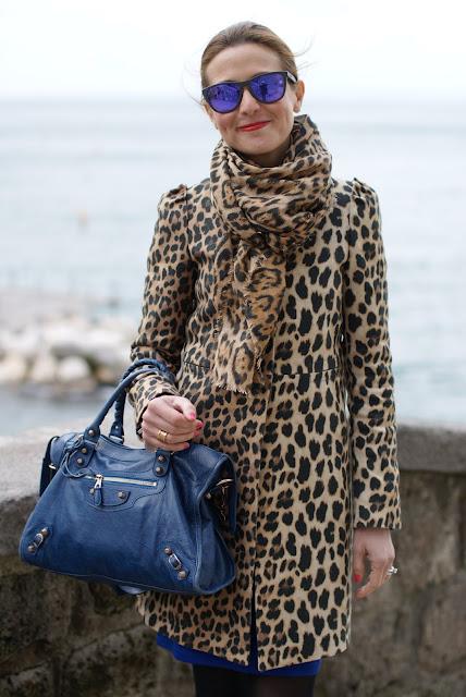 leopard print coat, Balenciaga cobalt blue city bag, Oakley mirrored sunglasses, Fashion and Cookies