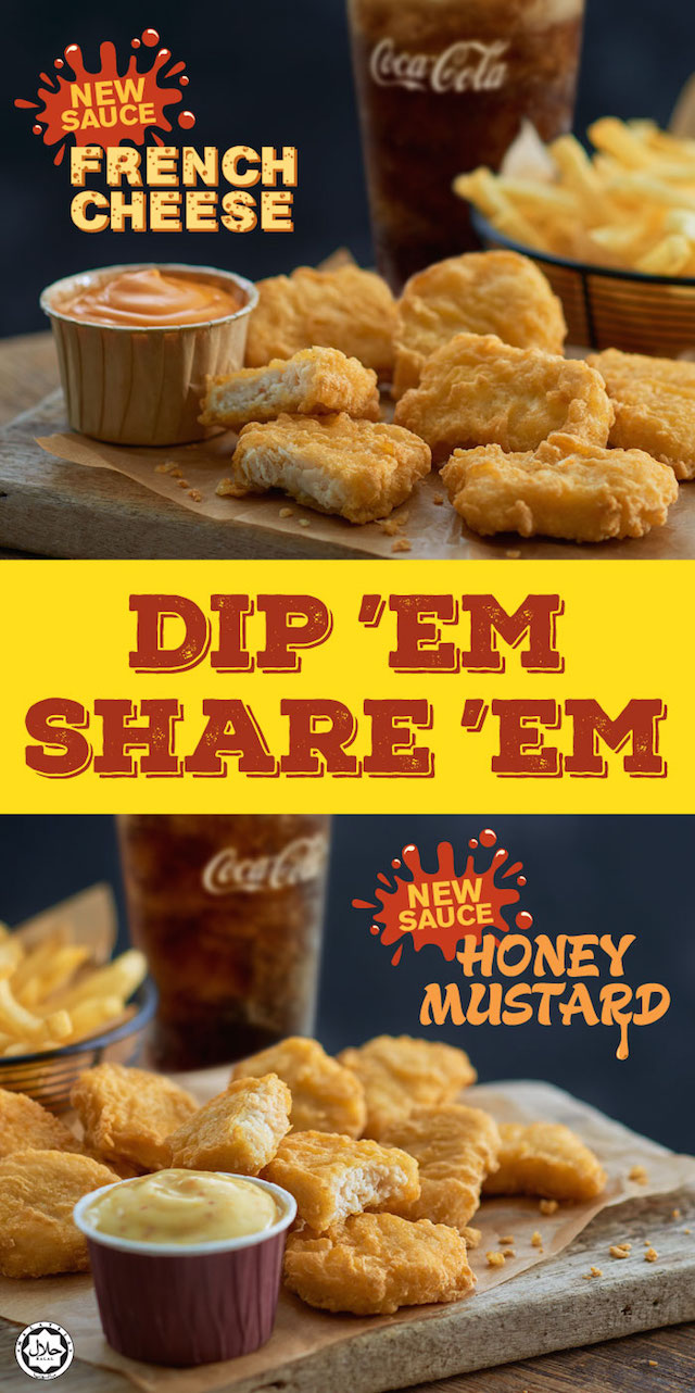 Now with 2 new sauces - creamy French Cheese & sweet Honey Mustard! Dip 'em & Share 'em!