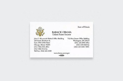 10 Kartu Nama Legendaris dari Tokoh-Tokoh Terkenal Dunia: Barack Obama