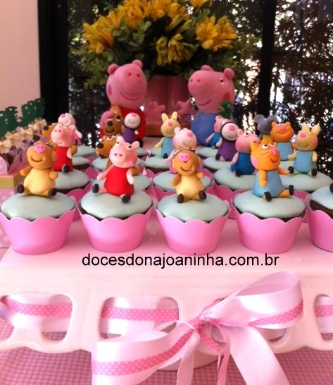 Mini Cupcakes decorados Peppa Pig e Amiguinhos