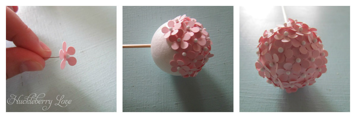 Huckleberry love paper flower ball bouquet tutorial then place your pin through the middle of the flower fold up the petals and push it into your styrofoam ball be sure to leave a space to insert your mightylinksfo