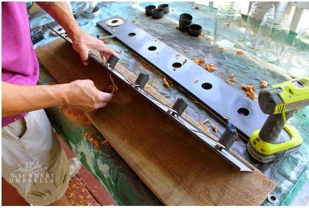 DIY lampara con botes de cristal madera vintage