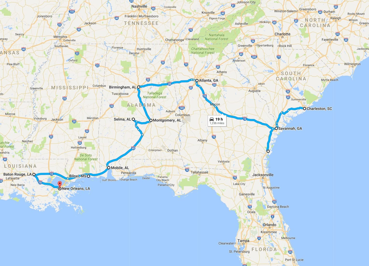 Deep South Tour Itinerary