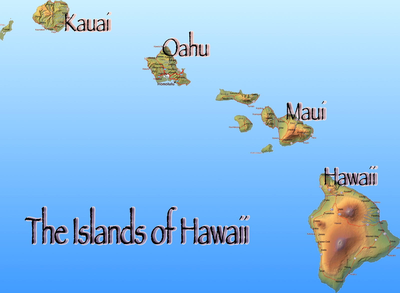 Map Of Hawaii Island Chain Swimnovacom - Map of hawaii