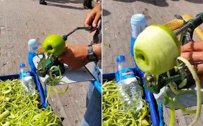Ξεφλουδίζει και κόβει σε κομμάτια ένα μήλο σε 5 δευτερόλεπτα