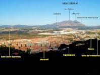 Panoràmica de Martorell i Montserrat des del Castell de Rosanes