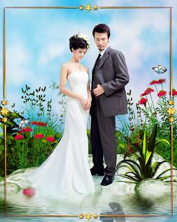 Template PSD - Foto de casamento no lago