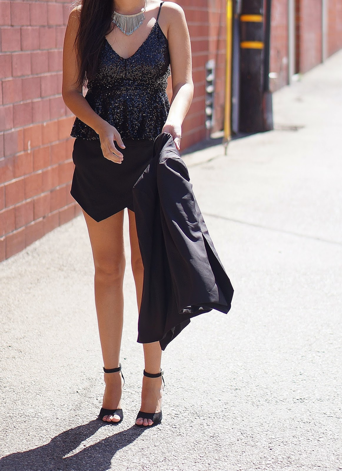 Sheinside black cape, Penny Shoemint Heels, Express Skort