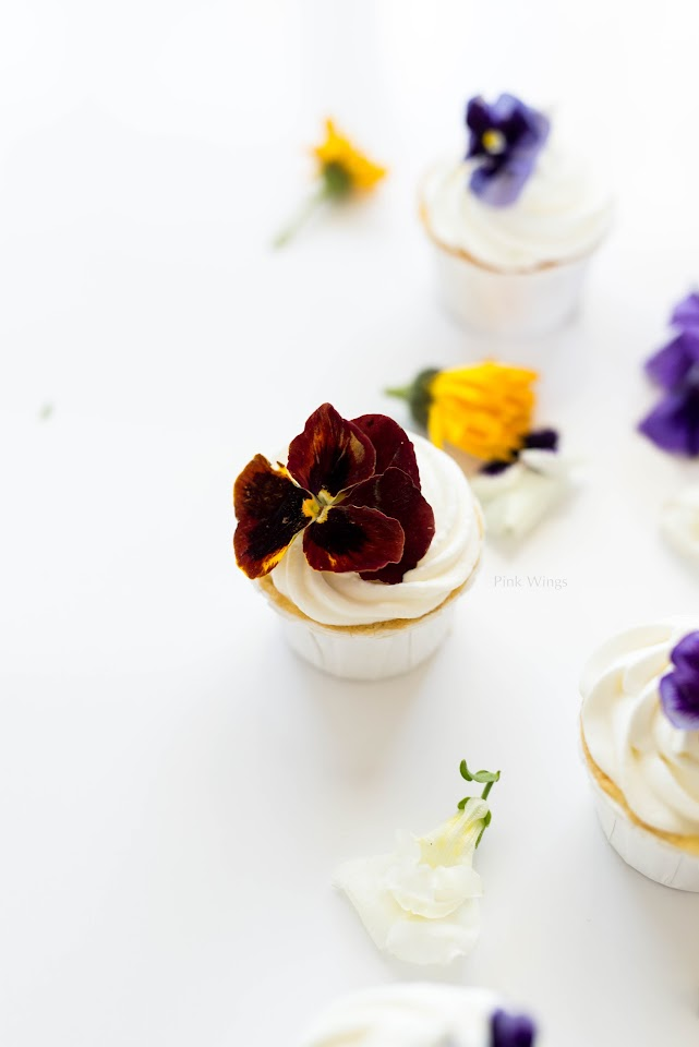 passion fruit cupcake edible flowers