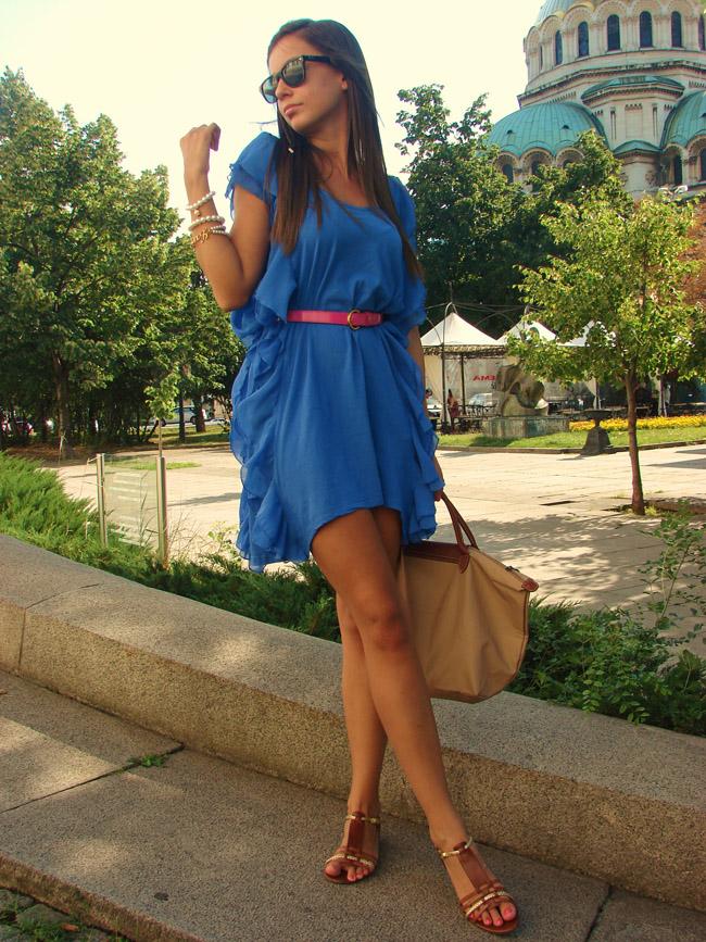 h&m garden collection blue dress, ralph lauren brown gladiator sandals, hair braid, lauren conrad style braid blog, lauren conrad hairstyle, i heart maya, iheartmaya blog
