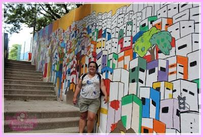 Muro do Projeto Tudo de Cor na Comunidade Dona Marta