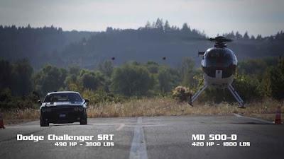 vídeo ,Racha entre um helicóptero MD500 e Challenger SRT8 392