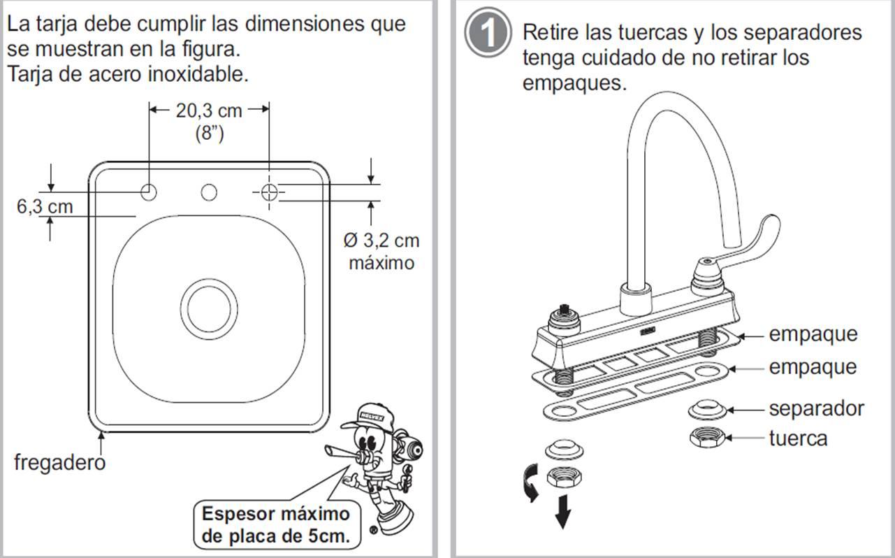 Reparaci n casera llave mezcladora o grifo de cocina for Partes de una llave de ducha