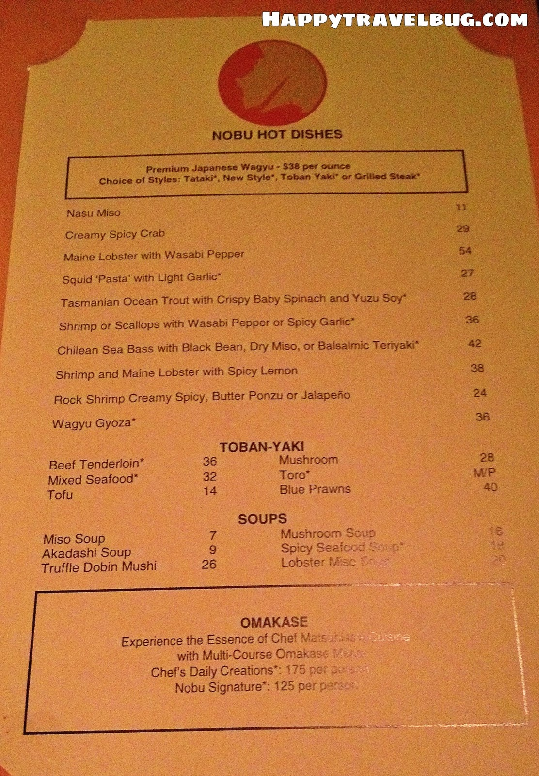 Nobu Hot dishes menu in Las Vegas