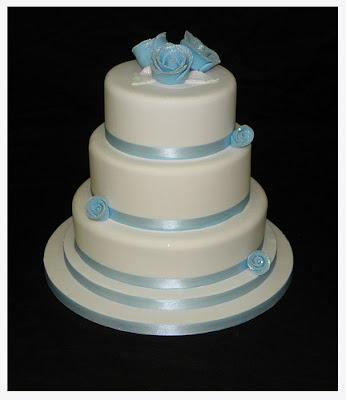 Wedding Cakes Round Blue Roses