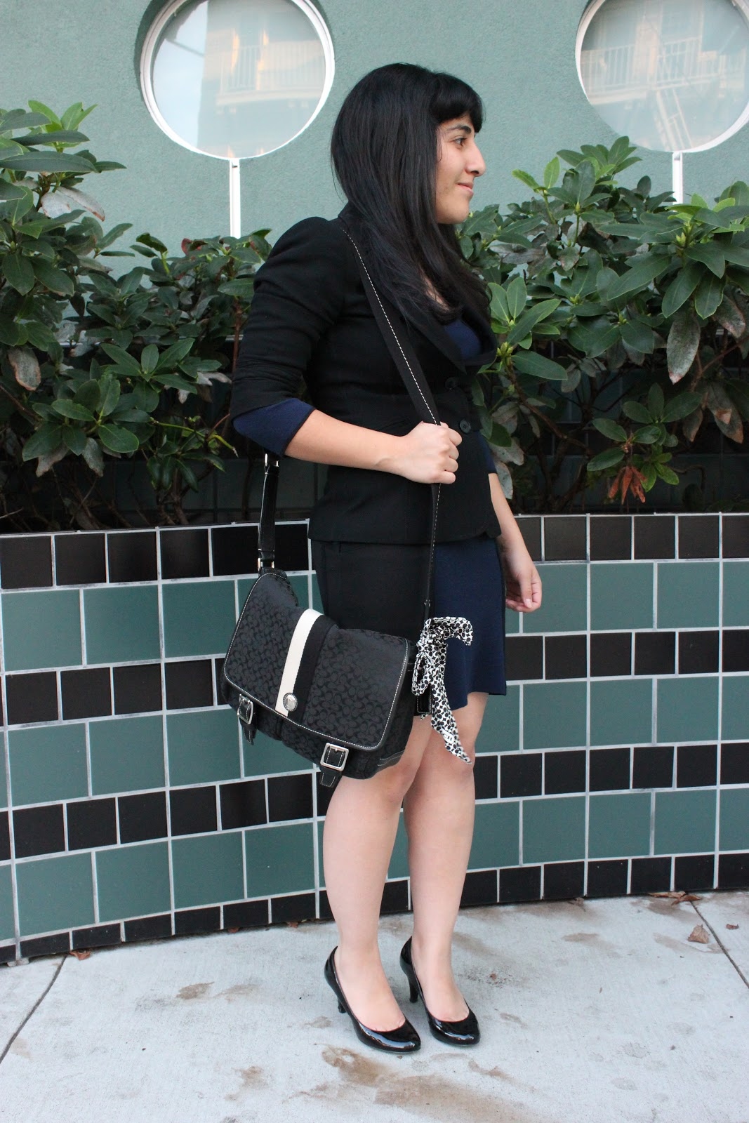 Blazer and Knit Dress