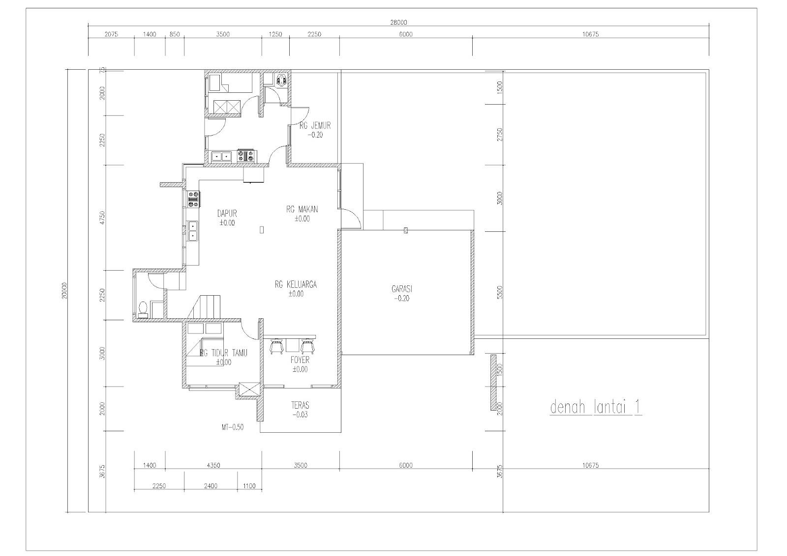 contoh gambar denah rumah dua lantai ide bangunan