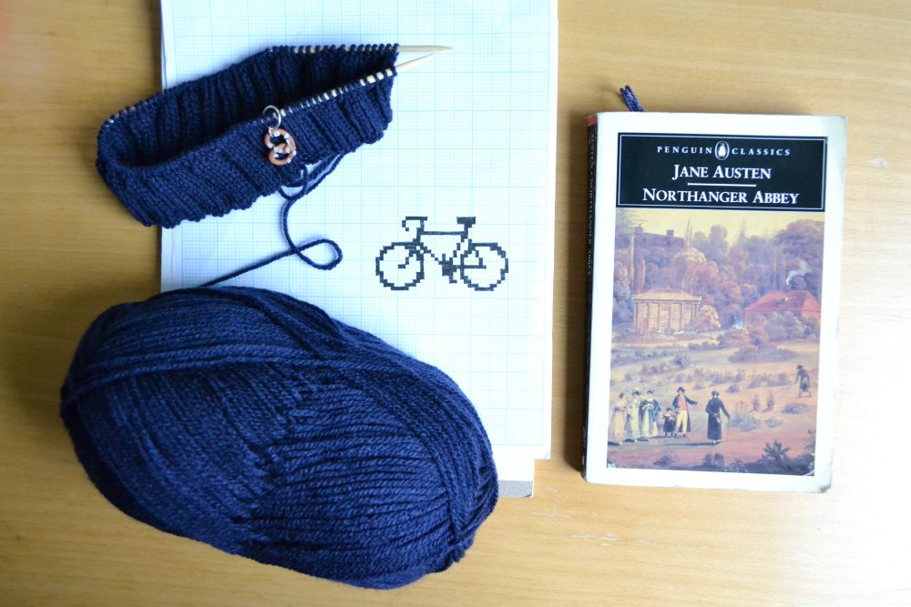 navy yarn knitting bicycle chart bike jane austen book northanger abbey