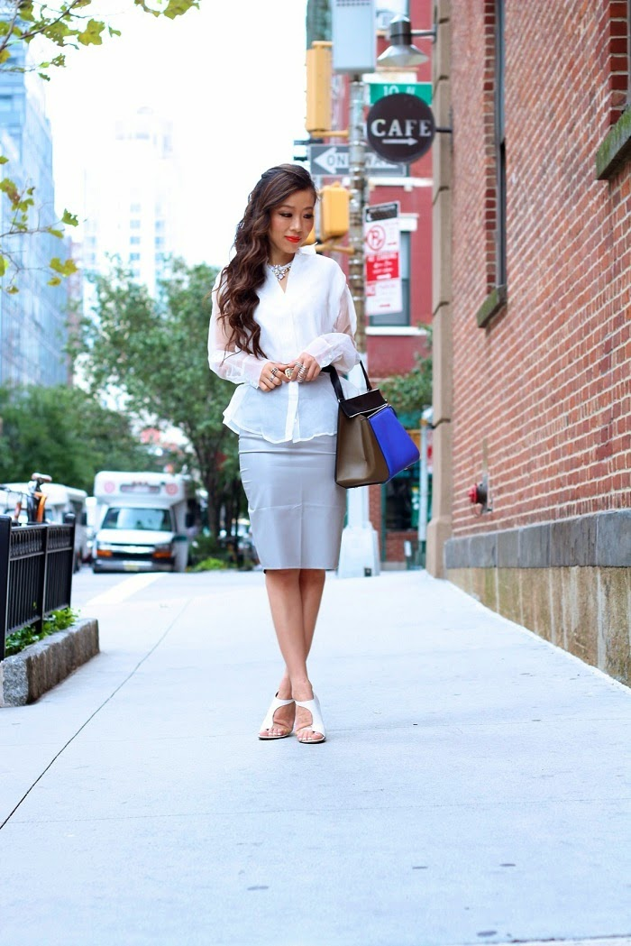 missguided grey faulx leather pencil skirt,nastygal undercover top,topshop necklace,tibi heels,celineedgebag,streetstyle,nyc,shallwesasa,forwork