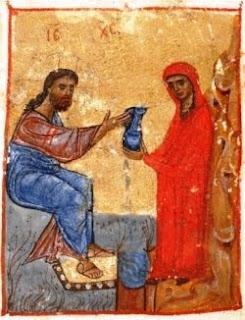 Jesús y la samaritana. Una miniatura de un manuscrito georgiano del siglo XII