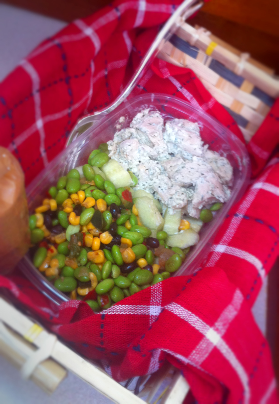 Edamame salad, chicken salad with homemade dill mayonnaise, and ...