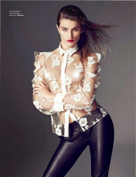 Blumarine 2014 SS Editorail: Sheer White Shirt With Rose Embellishments