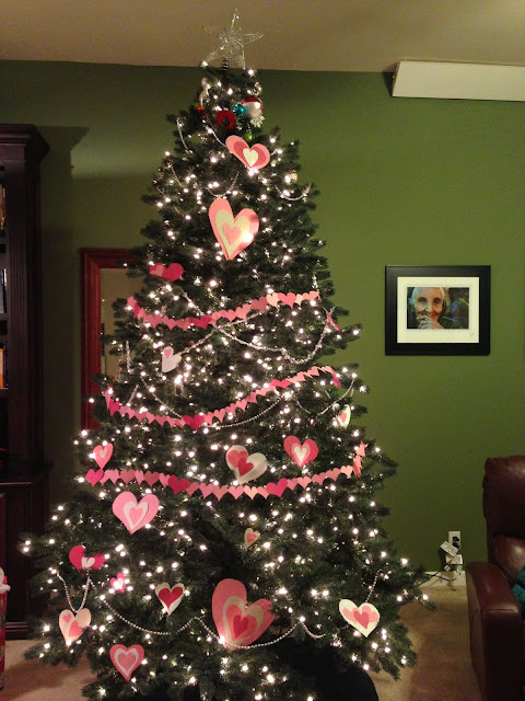 The erstwhile Christmas tree, all decked out for Valentine's